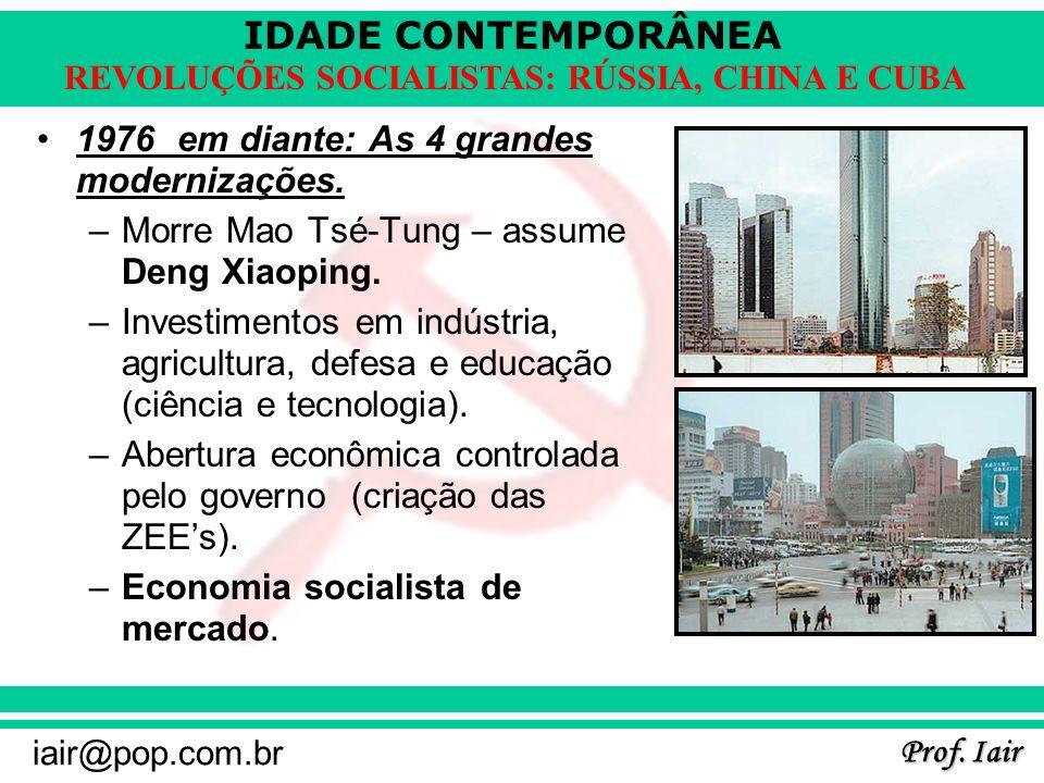 IDADE CONTEMPORÂNEA Prof. Iair iair@pop.com.br REVOLUÇÕES SOCIALISTAS: RÚSSIA, CHINA E CUBA 1976 em diante: As 4 grandes modernizações. –Morre Mao Tsé