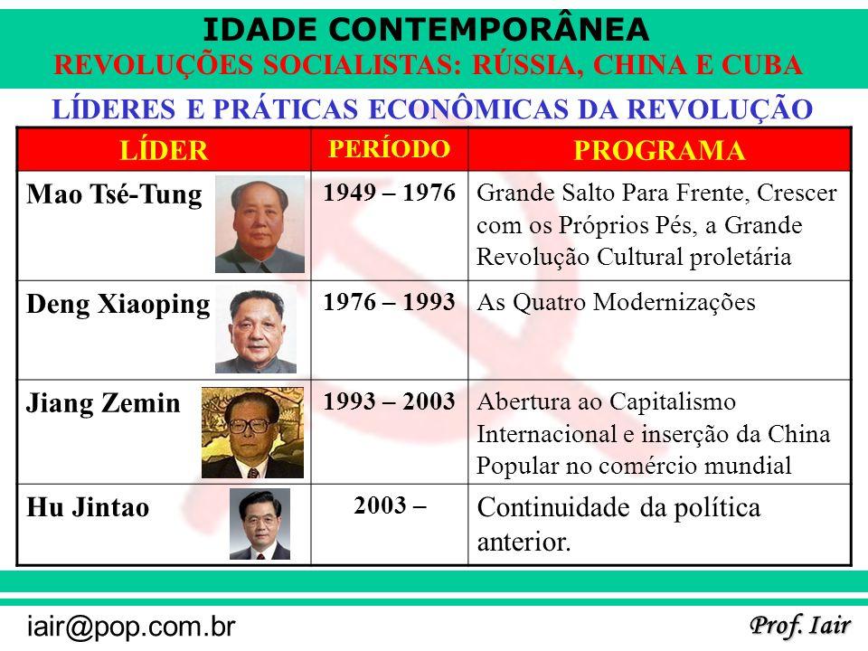 IDADE CONTEMPORÂNEA Prof. Iair iair@pop.com.br REVOLUÇÕES SOCIALISTAS: RÚSSIA, CHINA E CUBA LÍDERES E PRÁTICAS ECONÔMICAS DA REVOLUÇÃO LÍDER PERÍODO P