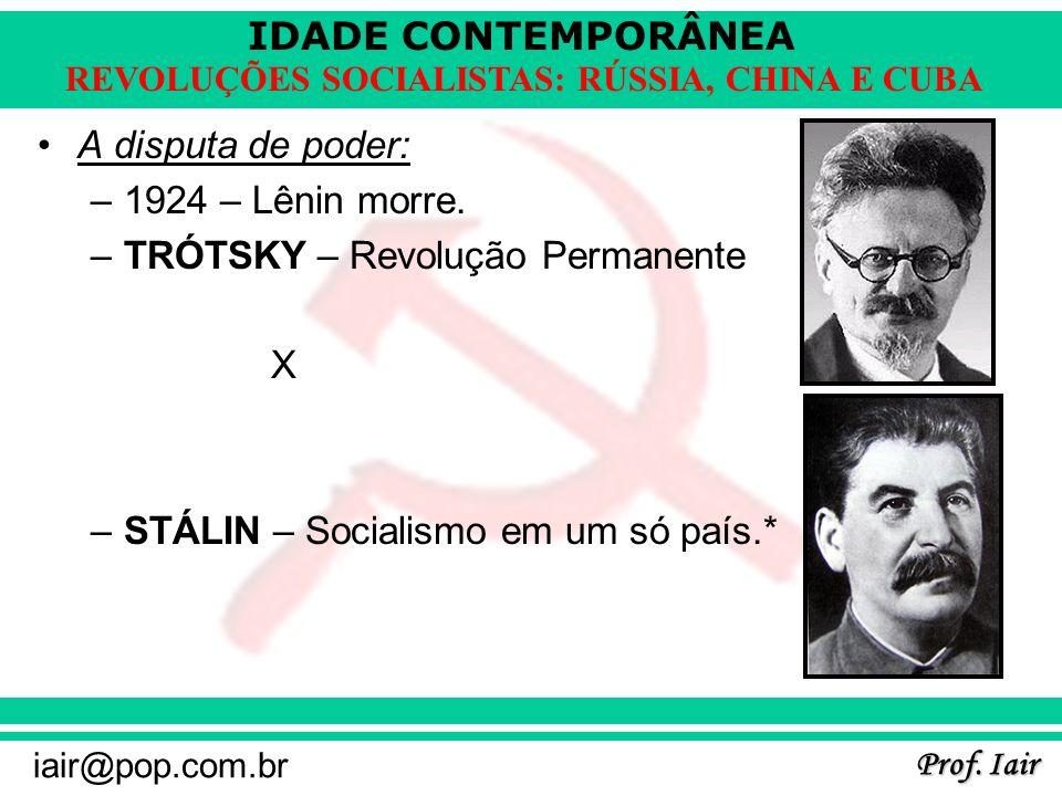 IDADE CONTEMPORÂNEA Prof. Iair iair@pop.com.br REVOLUÇÕES SOCIALISTAS: RÚSSIA, CHINA E CUBA A disputa de poder: –1924 – Lênin morre. –TRÓTSKY – Revolu