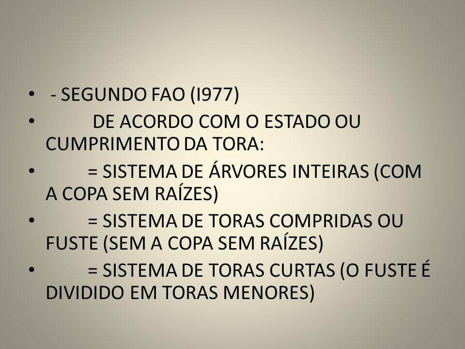 - SEGUNDO FAO (I977) DE ACORDO COM O ESTADO OU CUMPRIMENTO DA TORA: = SISTEMA DE ÁRVORES INTEIRAS (COM A COPA SEM RAÍZES) = SISTEMA DE TORAS COMPRIDAS