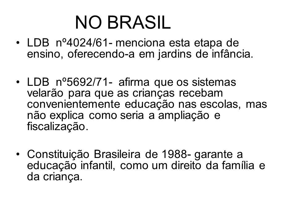 NO BRASIL LDB nº4024/61- menciona esta etapa de ensino, oferecendo-a em jardins de infância. LDB nº5692/71- afirma que os sistemas velarão para que as