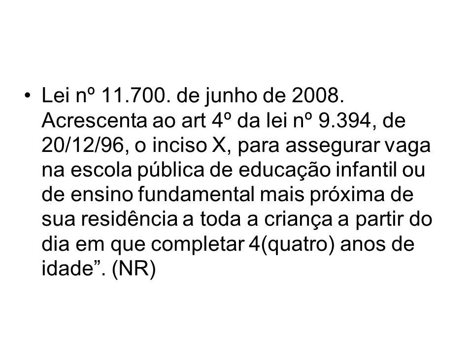 Lei nº 11.700. de junho de 2008. Acrescenta ao art 4º da lei nº 9.394, de 20/12/96, o inciso X, para assegurar vaga na escola pública de educação infa