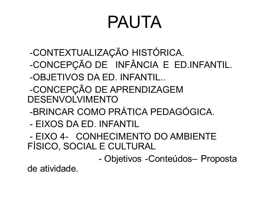 PAUTA -CONTEXTUALIZAÇÃO HISTÓRICA. -CONCEPÇÃO DE INFÂNCIA E ED.INFANTIL. -OBJETIVOS DA ED. INFANTIL.. -CONCEPÇÃO DE APRENDIZAGEM DESENVOLVIMENTO -BRIN