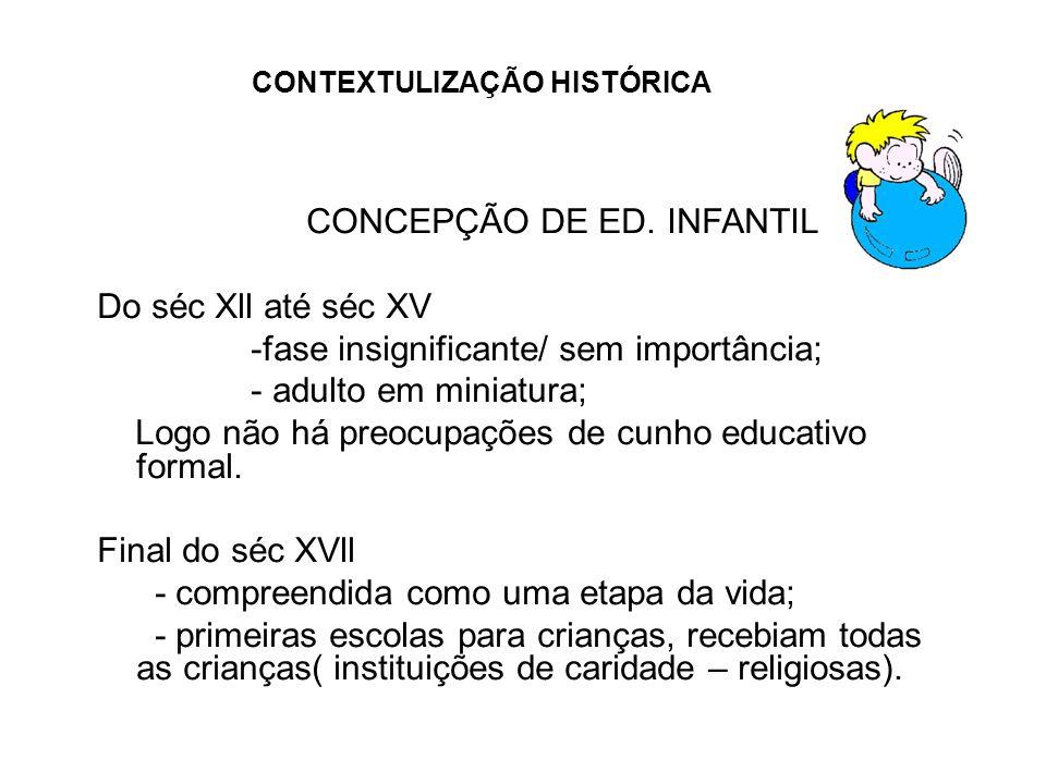CONTEXTULIZAÇÃO HISTÓRICA CONCEPÇÃO DE ED. INFANTIL Do séc Xll até séc XV -fase insignificante/ sem importância; - adulto em miniatura; Logo não há pr