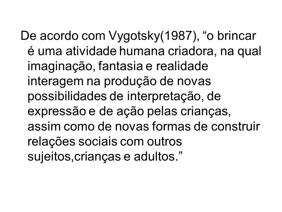 De acordo com Vygotsky(1987), o brincar é uma atividade humana criadora, na qual imaginação, fantasia e realidade interagem na produção de novas possi