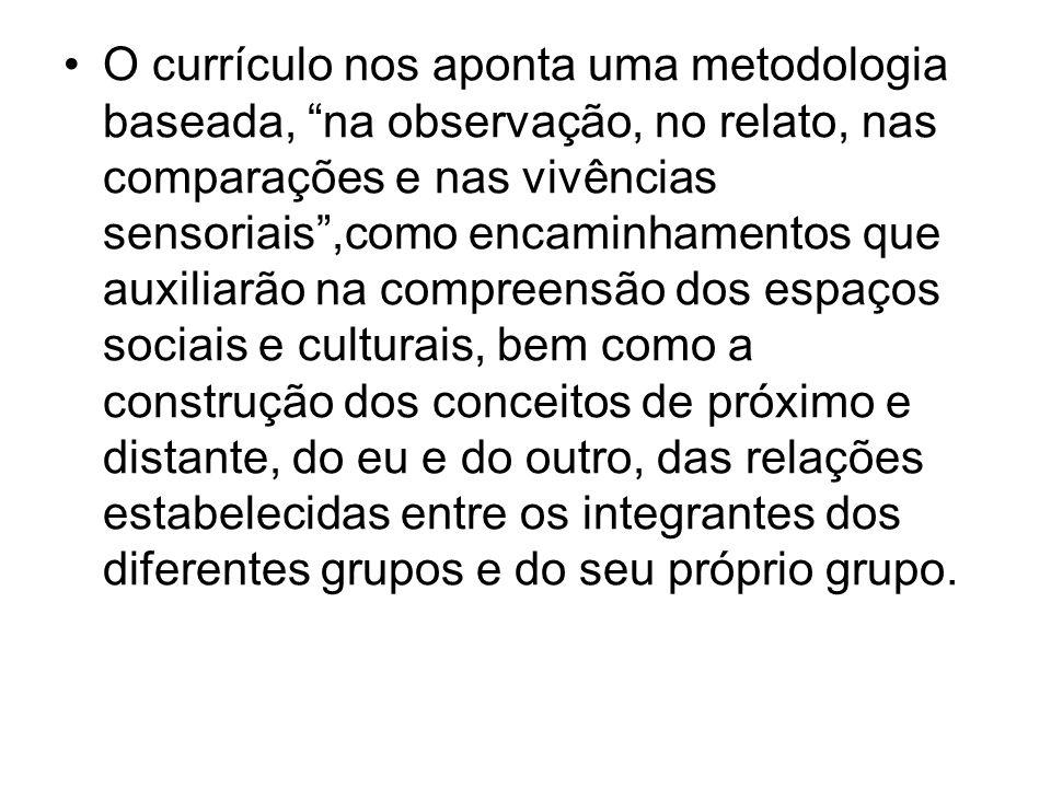 O currículo nos aponta uma metodologia baseada, na observação, no relato, nas comparações e nas vivências sensoriais,como encaminhamentos que auxiliar