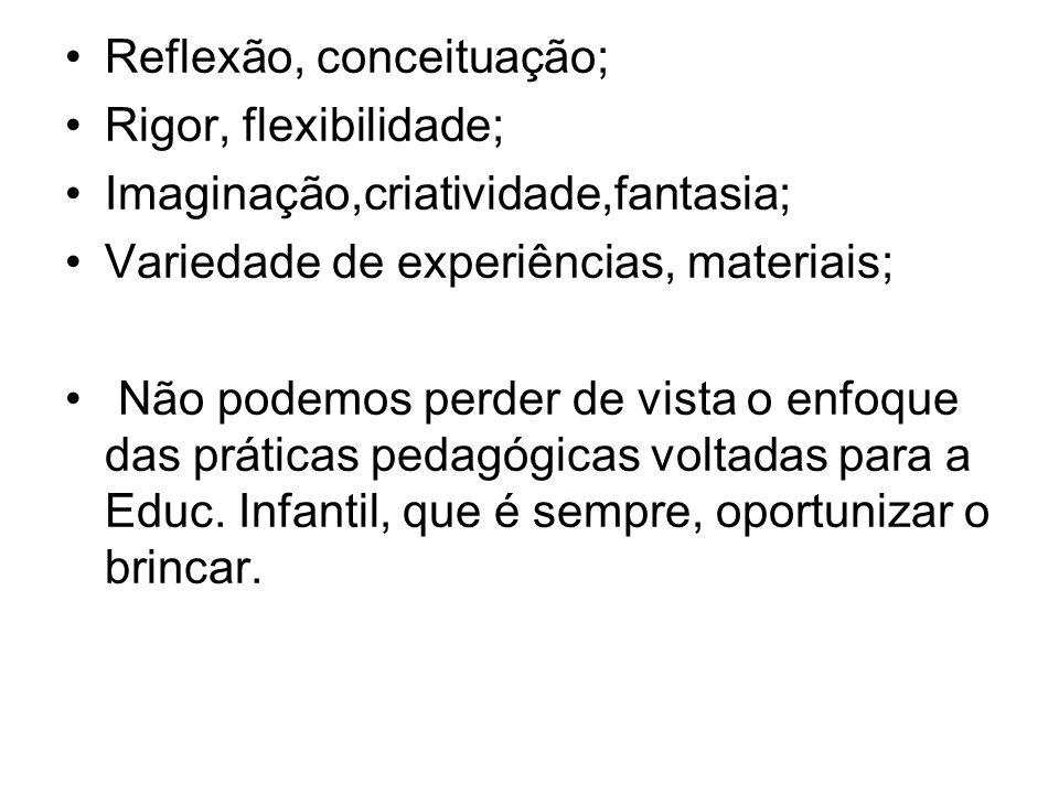 Reflexão, conceituação; Rigor, flexibilidade; Imaginação,criatividade,fantasia; Variedade de experiências, materiais; Não podemos perder de vista o en