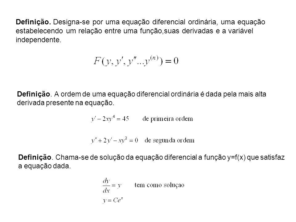 Definição. Designa-se por uma equação diferencial ordinária, uma equação estabelecendo um relação entre uma função,suas derivadas e a variável indepen