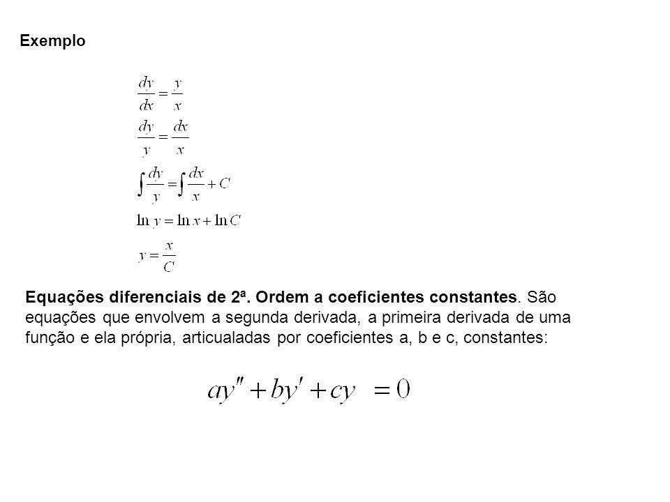 Exemplo Equações diferenciais de 2ª. Ordem a coeficientes constantes. São equações que envolvem a segunda derivada, a primeira derivada de uma função