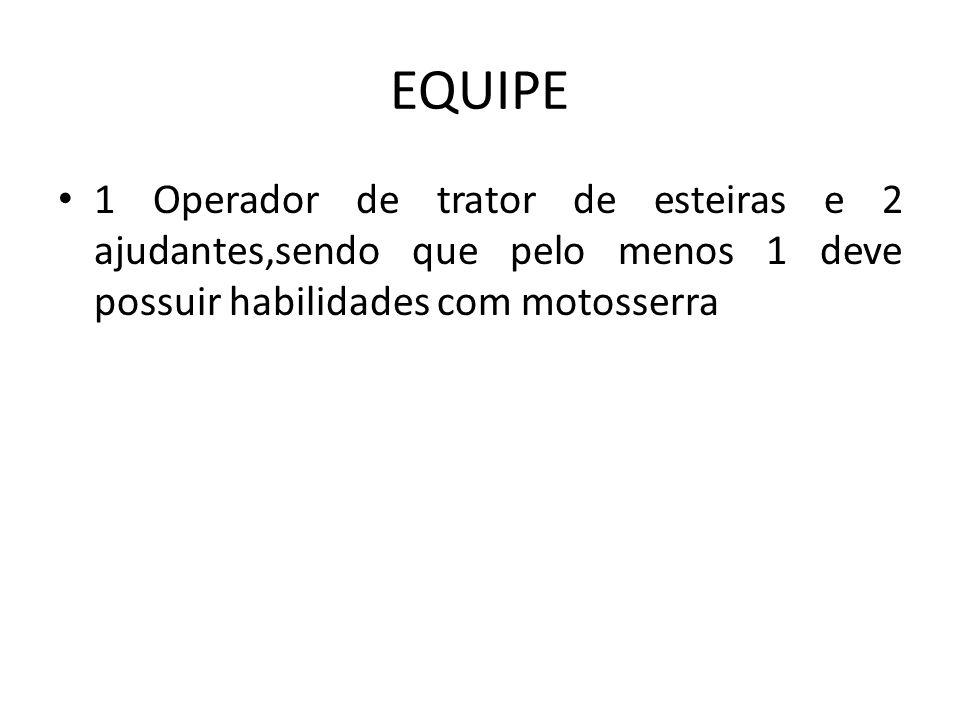 EQUIPE 1 Operador de trator de esteiras e 2 ajudantes,sendo que pelo menos 1 deve possuir habilidades com motosserra
