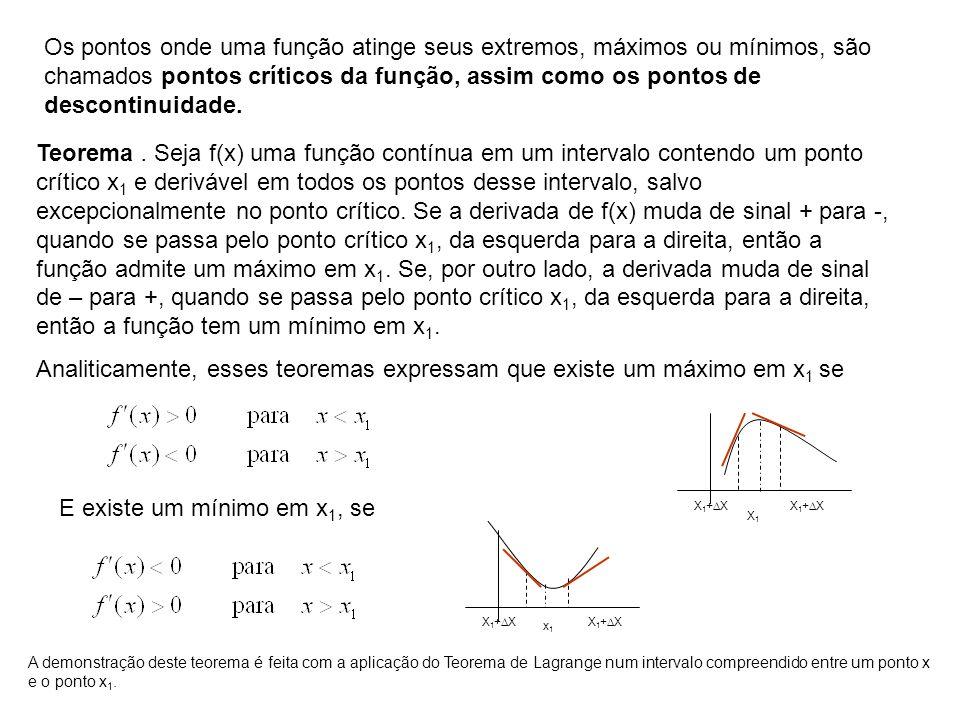 Os pontos onde uma função atinge seus extremos, máximos ou mínimos, são chamados pontos críticos da função, assim como os pontos de descontinuidade. T