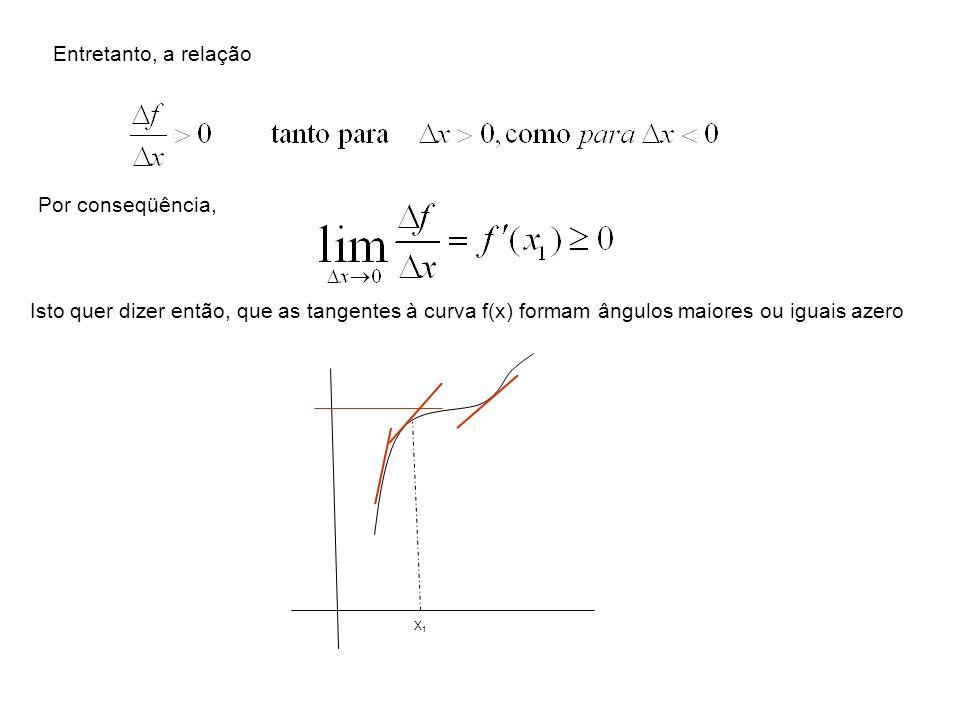 Se em x 1 f´(x1)=0, para x >0, sendo f´´(x 1 )>0, teremos pela relação acima: Dos resultados anteriores concluímos que, ao passarmos da esquerda para a direita, em torno de x=x 1, a derivada f´(x) passa de 0, o que,pelo teorema anterior, garante que, em x=x 1, a função admite um mínimo.