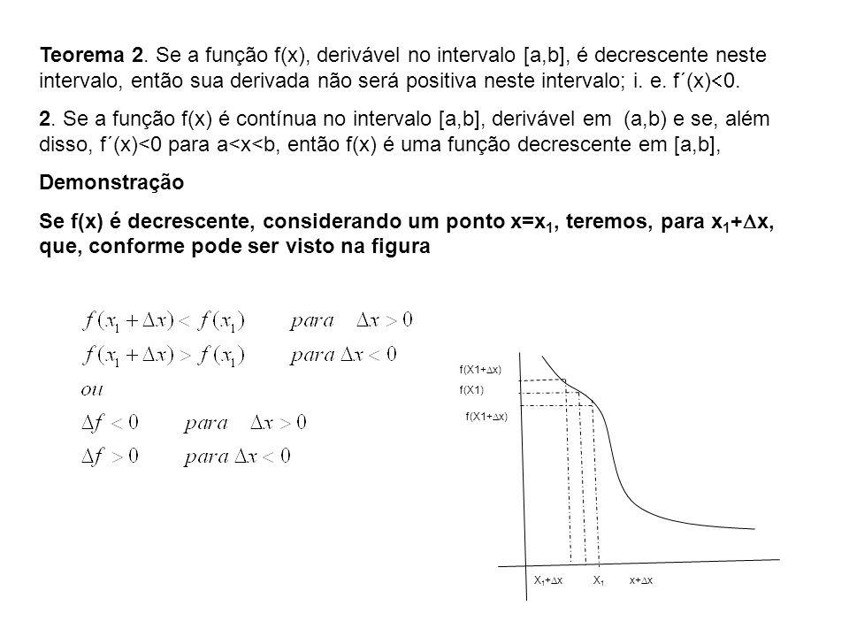 Teorema 2. Se a função f(x), derivável no intervalo [a,b], é decrescente neste intervalo, então sua derivada não será positiva neste intervalo; i. e.