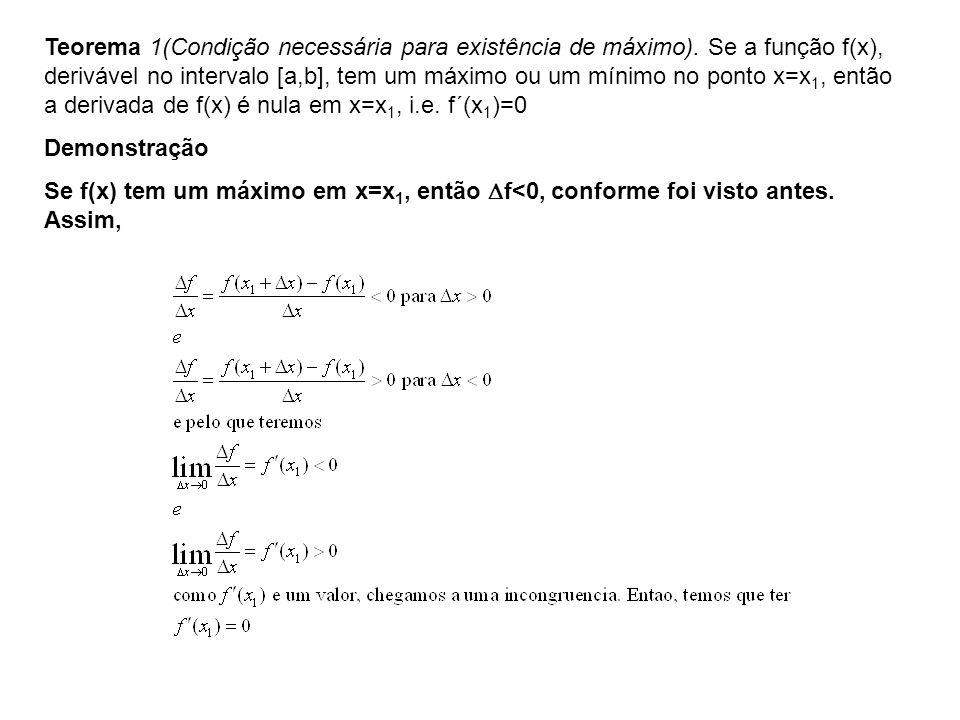 Teorema 1(Condição necessária para existência de máximo). Se a função f(x), derivável no intervalo [a,b], tem um máximo ou um mínimo no ponto x=x 1, e