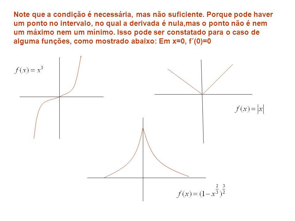Note que a condição é necessária, mas não suficiente. Porque pode haver um ponto no intervalo, no qual a derivada é nula,mas o ponto não é nem um máxi