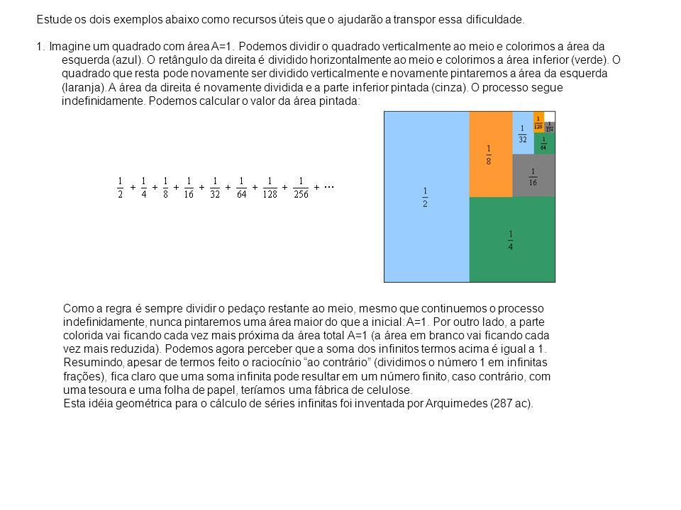Estude os dois exemplos abaixo como recursos úteis que o ajudarão a transpor essa dificuldade. 1. Imagine um quadrado com área A=1. Podemos dividir o