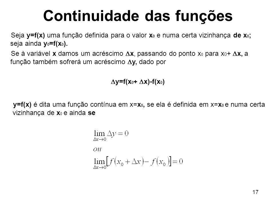 17 Continuidade das funções Seja y=f(x) uma função definida para o valor x 0 e numa certa vizinhança de x 0 ; seja ainda y 0 =f(x 0 ). Se à variável x