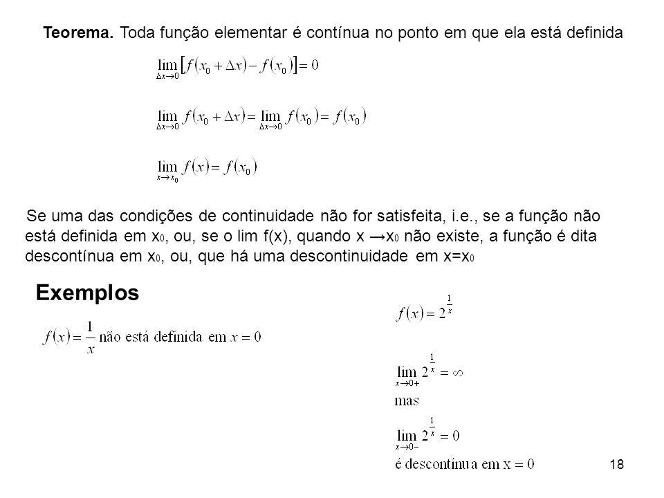 18 Teorema. Toda função elementar é contínua no ponto em que ela está definida Se uma das condições de continuidade não for satisfeita, i.e., se a fun
