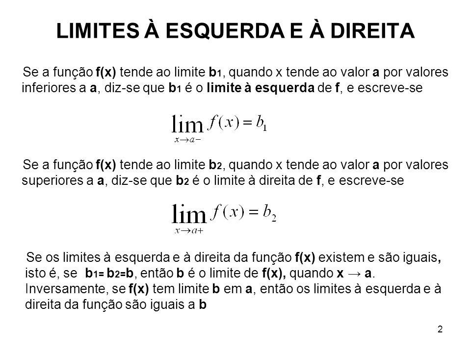 2 LIMITES À ESQUERDA E À DIREITA Se a função f(x) tende ao limite b 1, quando x tende ao valor a por valores inferiores a a, diz-se que b 1 é o limite