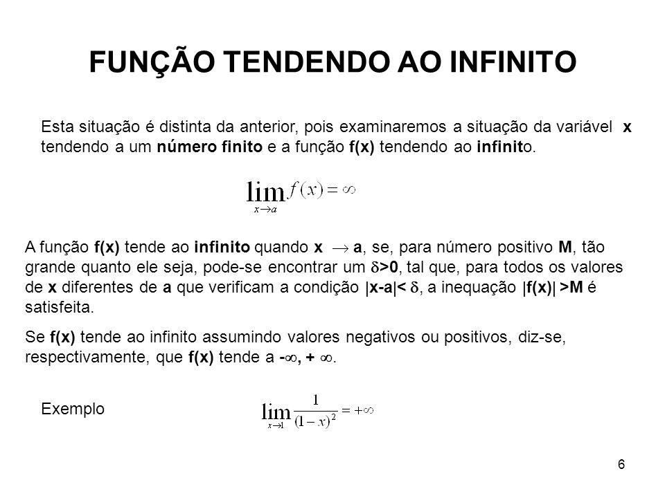 6 FUNÇÃO TENDENDO AO INFINITO Esta situação é distinta da anterior, pois examinaremos a situação da variável x tendendo a um número finito e a função