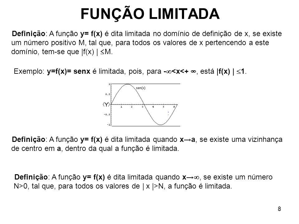 8 FUNÇÃO LIMITADA Definição: A função y= f(x) é dita limitada no domínio de definição de x, se existe um número positivo M, tal que, para todos os val