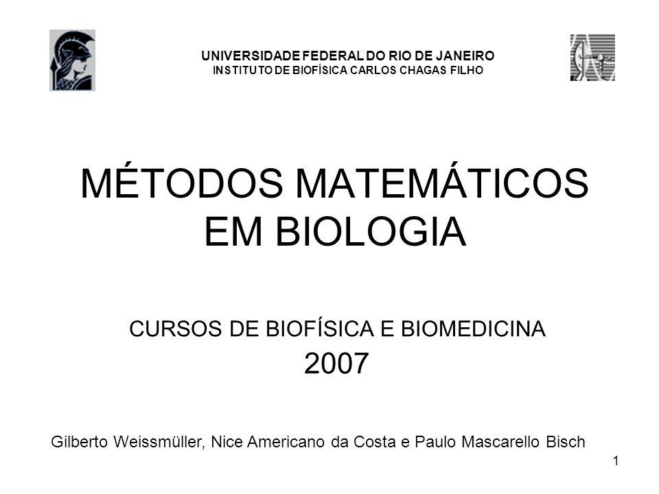 1 MÉTODOS MATEMÁTICOS EM BIOLOGIA CURSOS DE BIOFÍSICA E BIOMEDICINA 2007 Gilberto Weissmüller, Nice Americano da Costa e Paulo Mascarello Bisch UNIVER