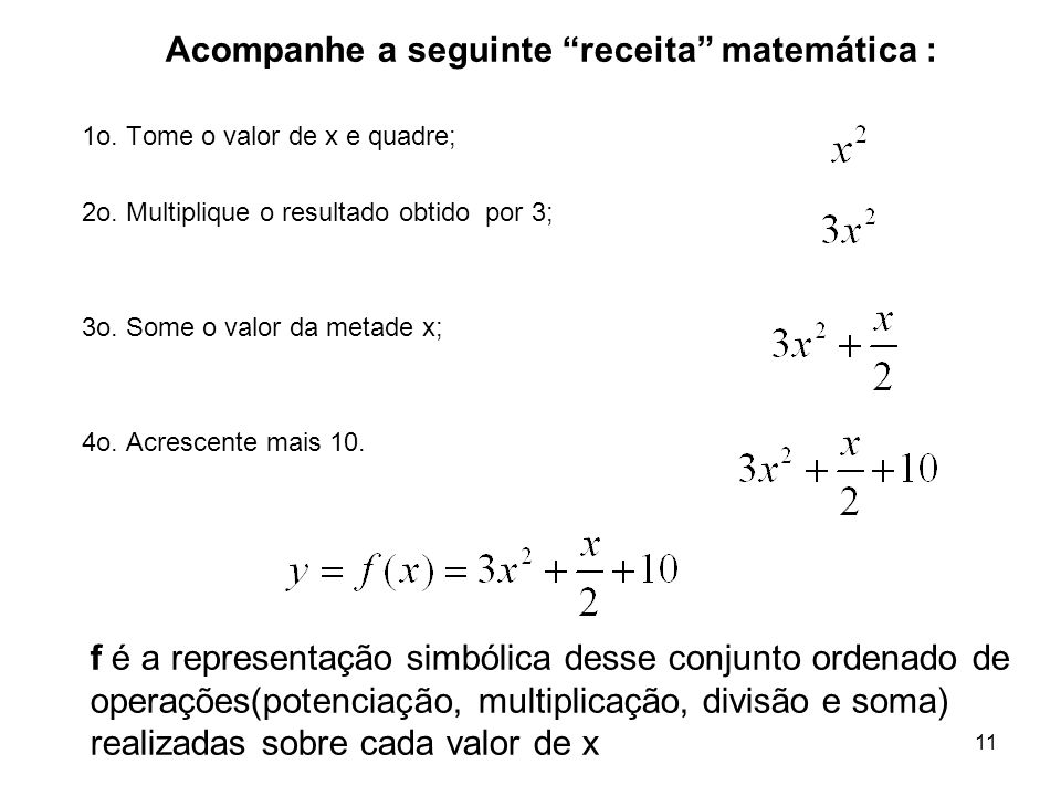 11 f é a representação simbólica desse conjunto ordenado de operações(potenciação, multiplicação, divisão e soma) realizadas sobre cada valor de x 1o.