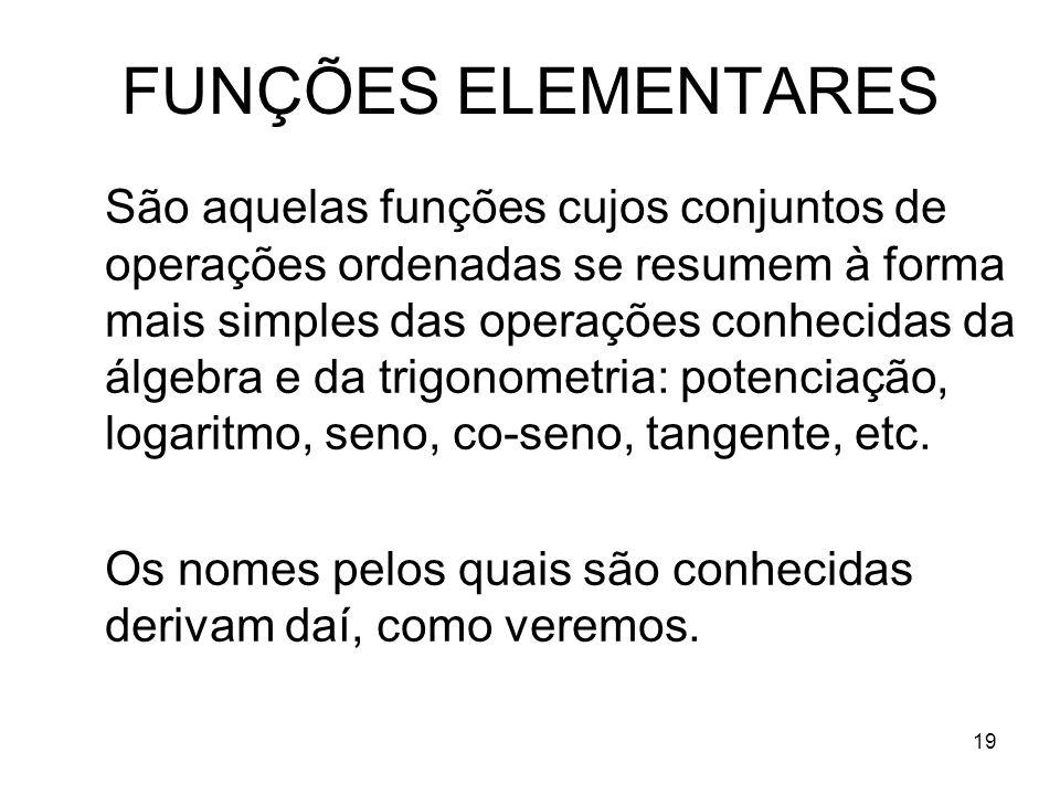 19 FUNÇÕES ELEMENTARES São aquelas funções cujos conjuntos de operações ordenadas se resumem à forma mais simples das operações conhecidas da álgebra
