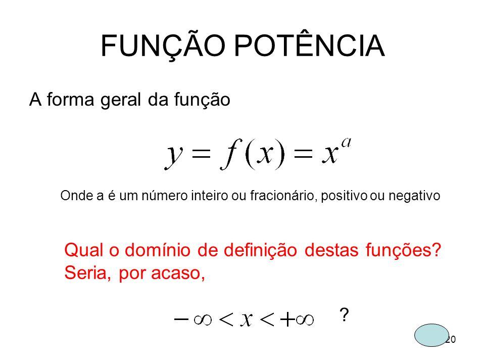 20 FUNÇÃO POTÊNCIA A forma geral da função Onde a é um número inteiro ou fracionário, positivo ou negativo Qual o domínio de definição destas funções?