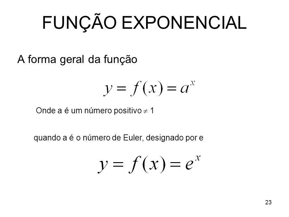 23 FUNÇÃO EXPONENCIAL A forma geral da função Onde a é um número positivo 1 quando a é o número de Euler, designado por e