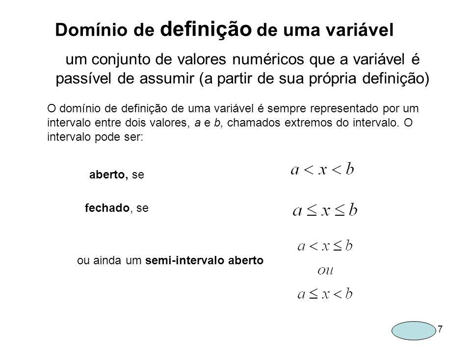 8 1.Uma grandeza: a área, S, de um figura limitada por uma curva fechada O domínio de definição de S será 3.Uma grandeza: a variável x=cosb, para todos os valores de b 2.Outra grandeza: a área, S, dos ambientes de um edifício de 30m x 10m EXEMPLOS DE DOMINIOS DE DEFINIÇÃO O domínio de definição de S será O domínio de definição de x será