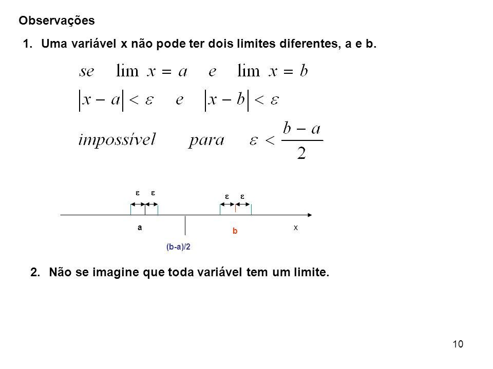 10 ax b (b-a)/2 Observações 1.Uma variável x não pode ter dois limites diferentes, a e b. 2.Não se imagine que toda variável tem um limite.