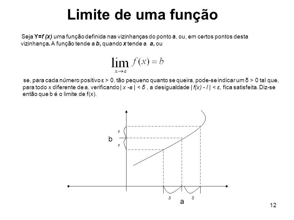 12 Seja Y=f (x) uma função definida nas vizinhanças do ponto a, ou, em certos pontos desta vizinhança. A função tende a b, quando x tende a a, ou Limi