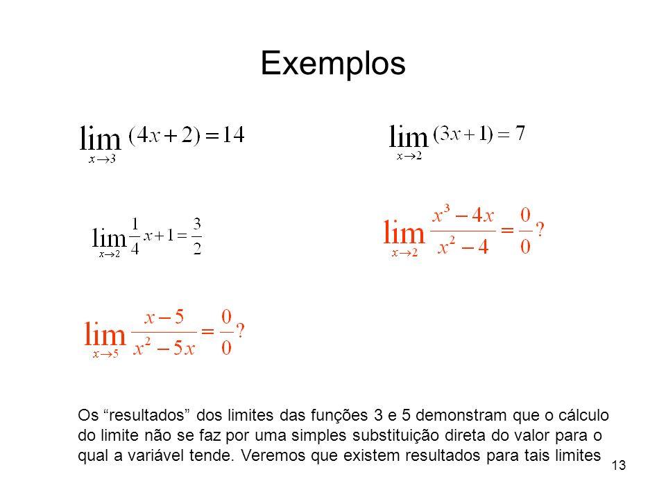 13 Exemplos Os resultados dos limites das funções 3 e 5 demonstram que o cálculo do limite não se faz por uma simples substituição direta do valor par
