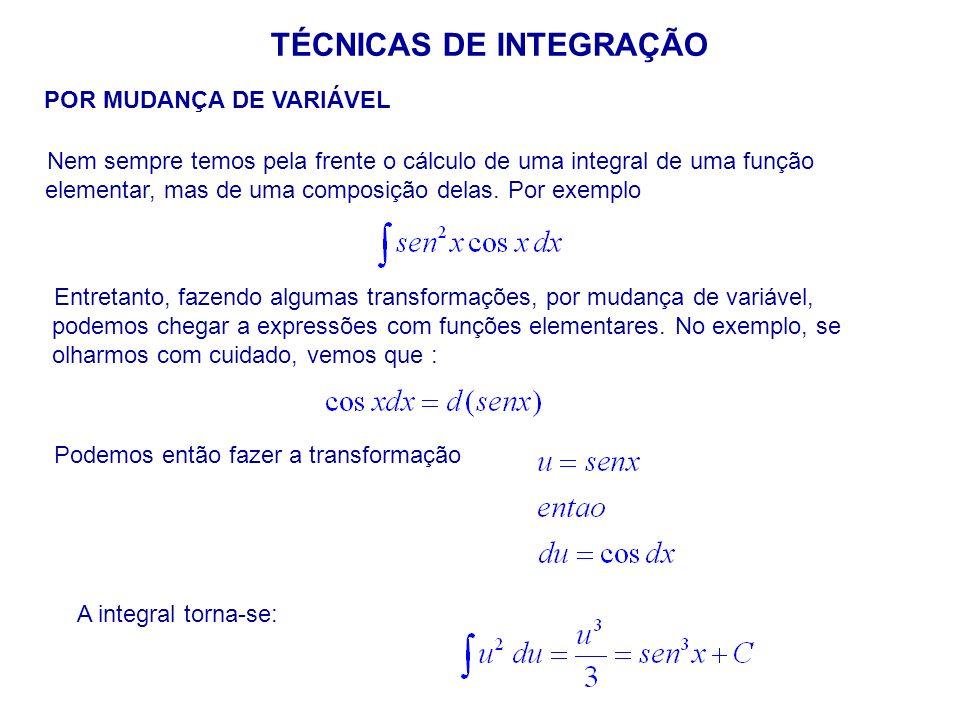 TÉCNICAS DE INTEGRAÇÃO POR MUDANÇA DE VARIÁVEL Nem sempre temos pela frente o cálculo de uma integral de uma função elementar, mas de uma composição delas.