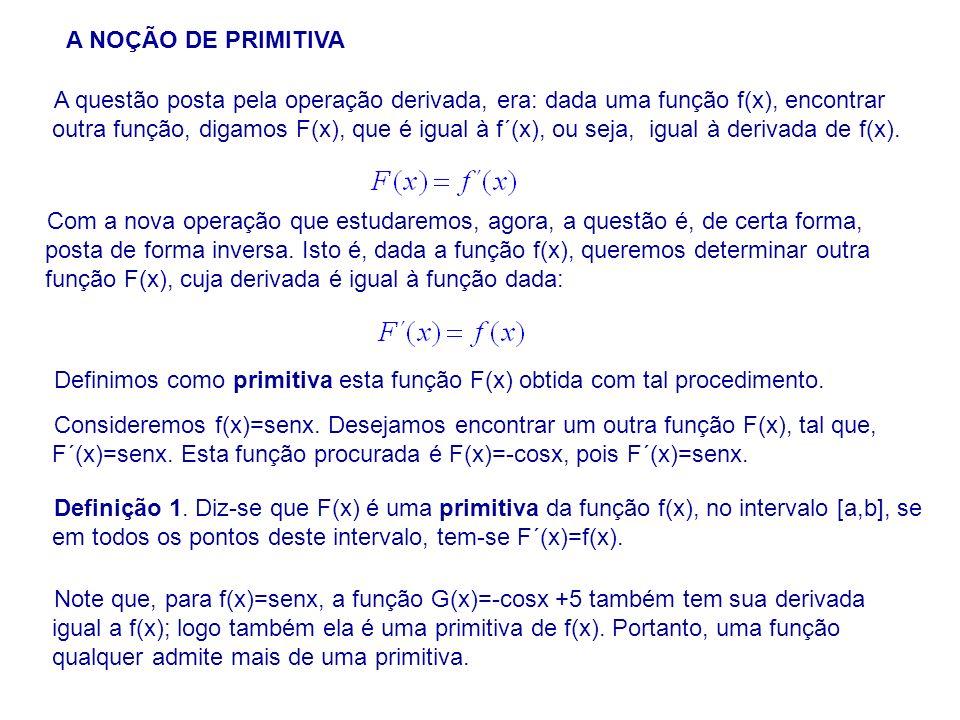 A questão posta pela operação derivada, era: dada uma função f(x), encontrar outra função, digamos F(x), que é igual à f´(x), ou seja, igual à derivada de f(x).