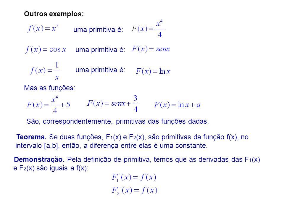 Outros exemplos: uma primitiva é: Mas as funções: São, correspondentemente, primitivas das funções dadas.