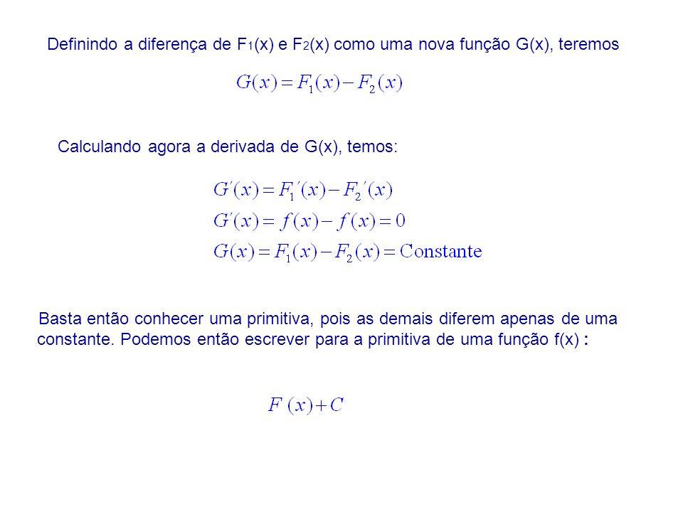 Definindo a diferença de F 1 (x) e F 2 (x) como uma nova função G(x), teremos Calculando agora a derivada de G(x), temos: Basta então conhecer uma primitiva, pois as demais diferem apenas de uma constante.