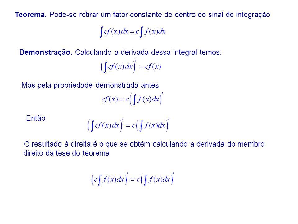Teorema.Pode-se retirar um fator constante de dentro do sinal de integração Demonstração.