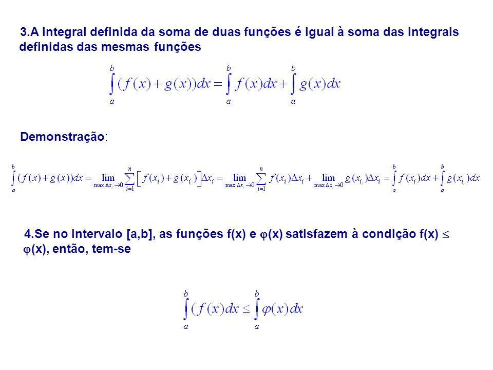 3.A integral definida da soma de duas funções é igual à soma das integrais definidas das mesmas funções Demonstração: 4.Se no intervalo [a,b], as funç