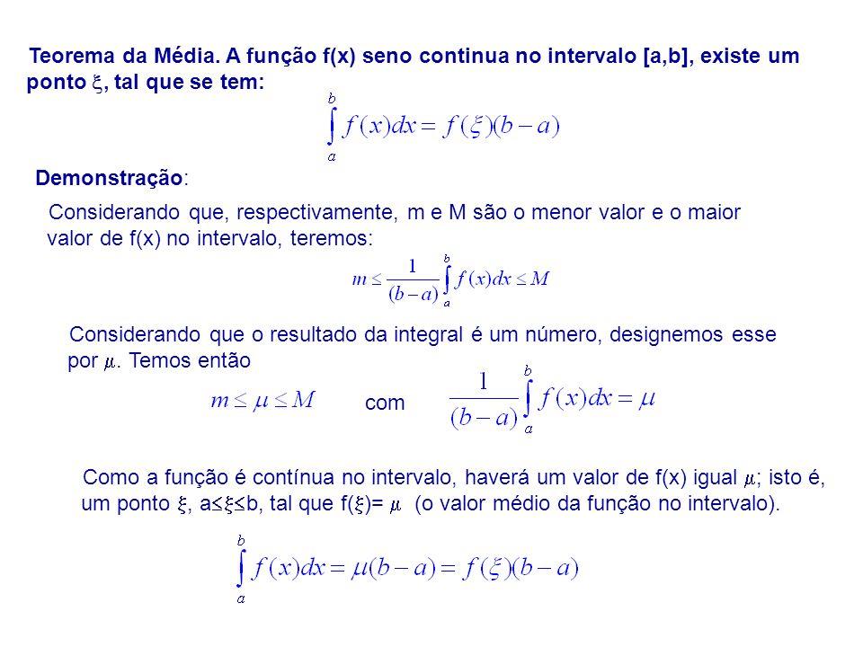 Teorema da Média. A função f(x) seno continua no intervalo [a,b], existe um ponto, tal que se tem: Demonstração: Considerando que, respectivamente, m