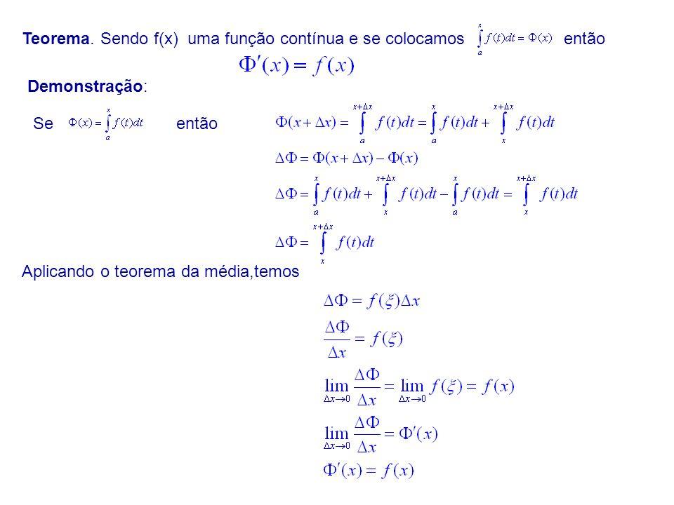 Teorema. Sendo f(x) uma função contínua e se colocamosentão Demonstração: Seentão Aplicando o teorema da média,temos