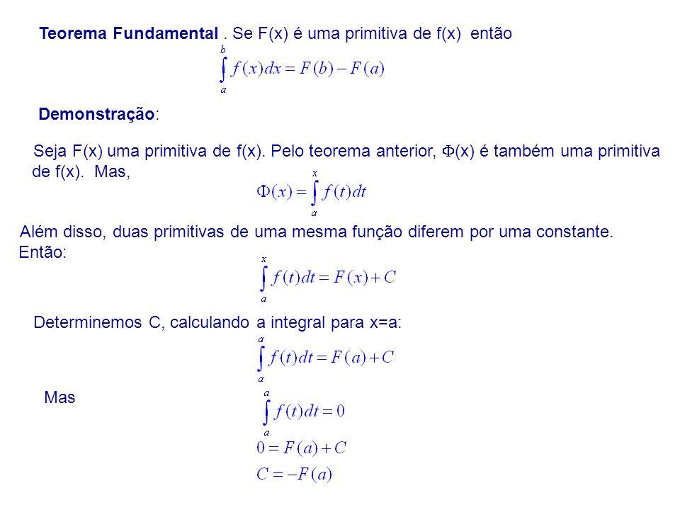 Teorema Fundamental. Se F(x) é uma primitiva de f(x) então Demonstração: Seja F(x) uma primitiva de f(x). Pelo teorema anterior, (x) é também uma prim