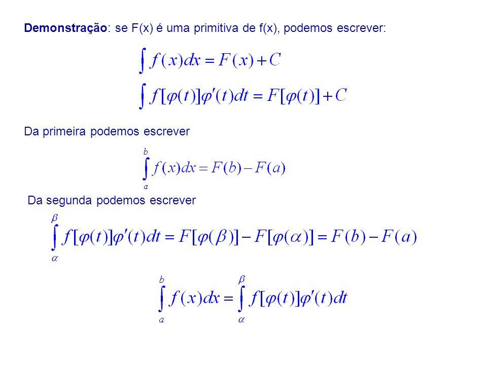 Demonstração: se F(x) é uma primitiva de f(x), podemos escrever: Da primeira podemos escrever Da segunda podemos escrever
