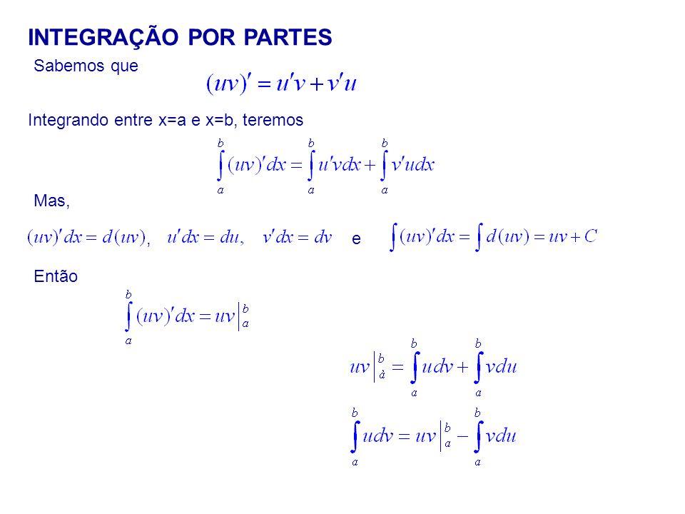 Sabemos que INTEGRAÇÃO POR PARTES Integrando entre x=a e x=b, teremos Mas, Então,e