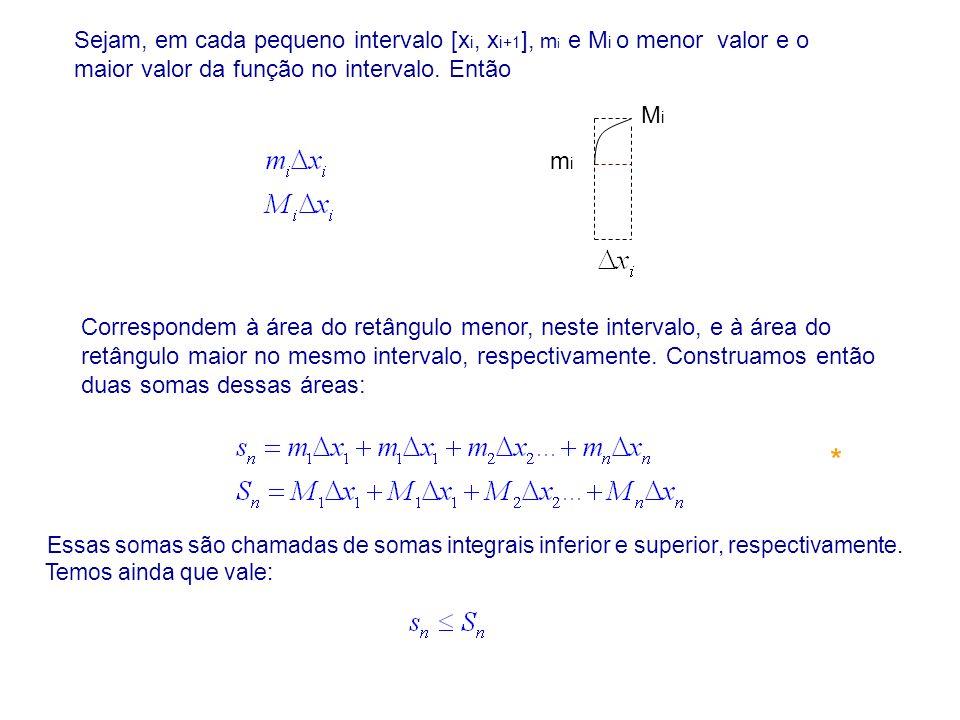 Sejam, em cada pequeno intervalo [x i, x i+1 ], m i e M i o menor valor e o maior valor da função no intervalo. Então Correspondem à área do retângulo