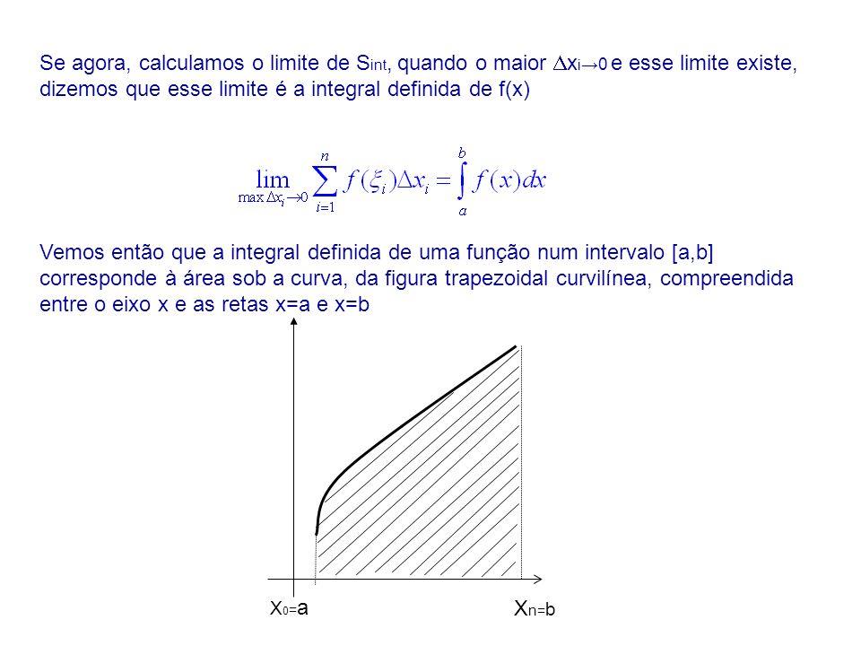 Se agora, calculamos o limite de S int, quando o maior x i 0 e esse limite existe, dizemos que esse limite é a integral definida de f(x) Vemos então q