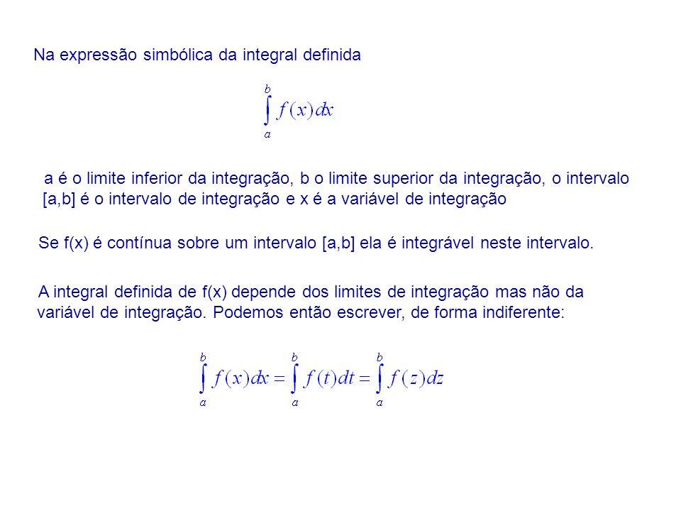 Na expressão simbólica da integral definida a é o limite inferior da integração, b o limite superior da integração, o intervalo [a,b] é o intervalo de