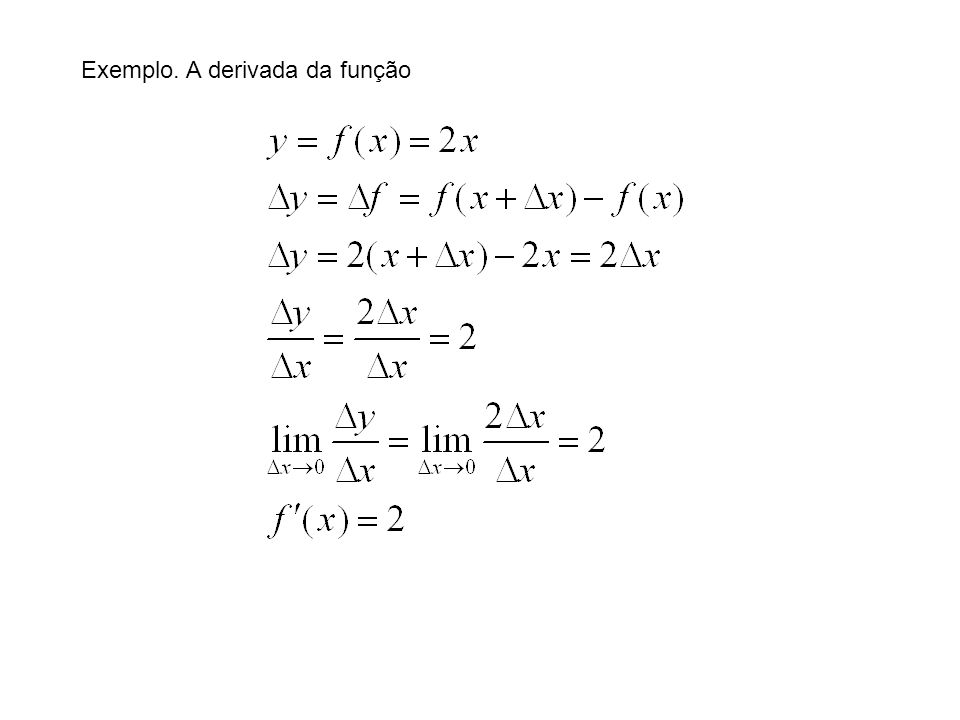A derivada da função Note bem .