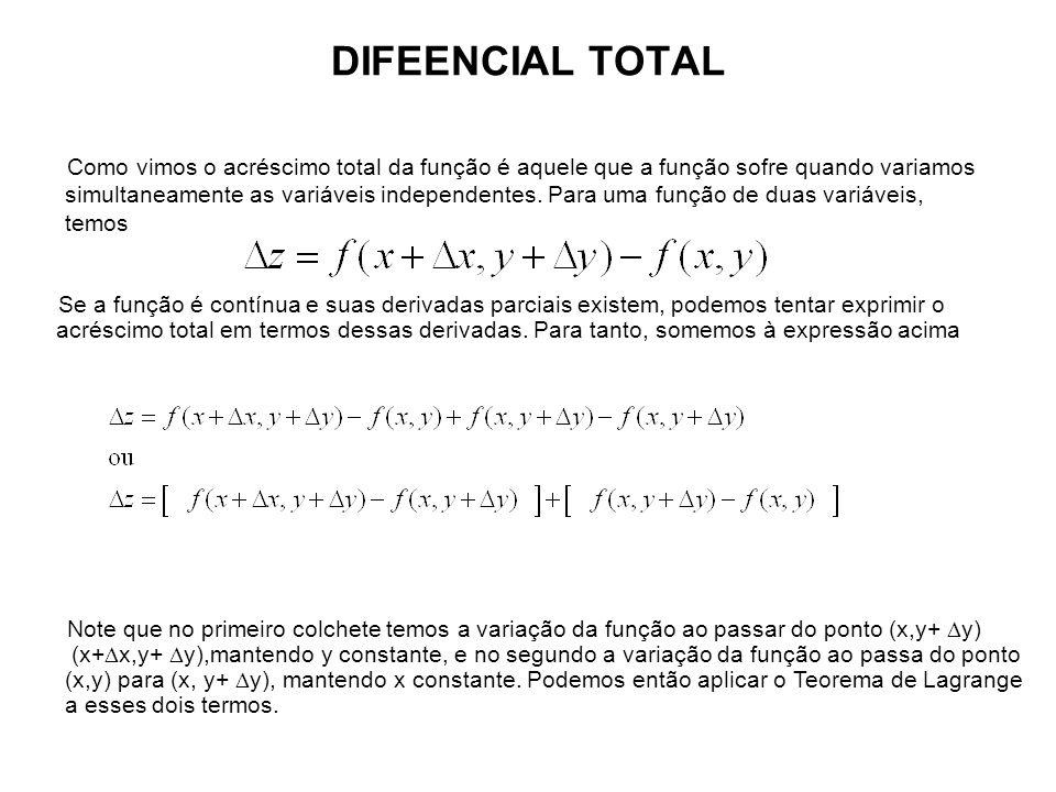 DIFEENCIAL TOTAL Como vimos o acréscimo total da função é aquele que a função sofre quando variamos simultaneamente as variáveis independentes. Para u